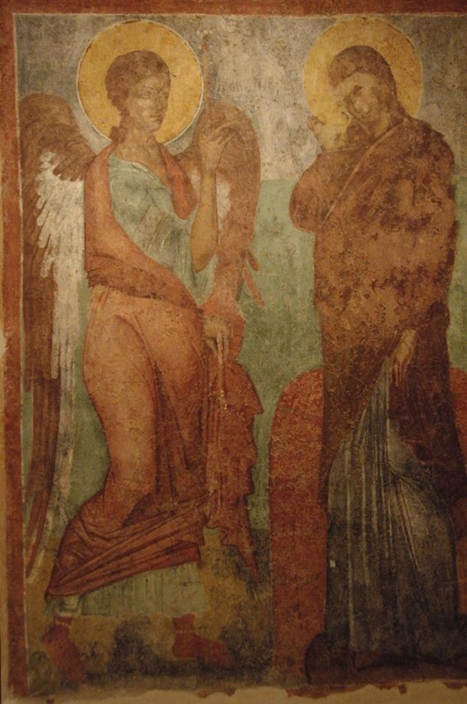 Stock Photo: 4409-42910 The Annunciation. Detail. Fresco dated in the second half of the 15th century. From the church of St. Nicholas of Kato Korakiana. Old Fortress Museum. Corfu. Ionian Islands.