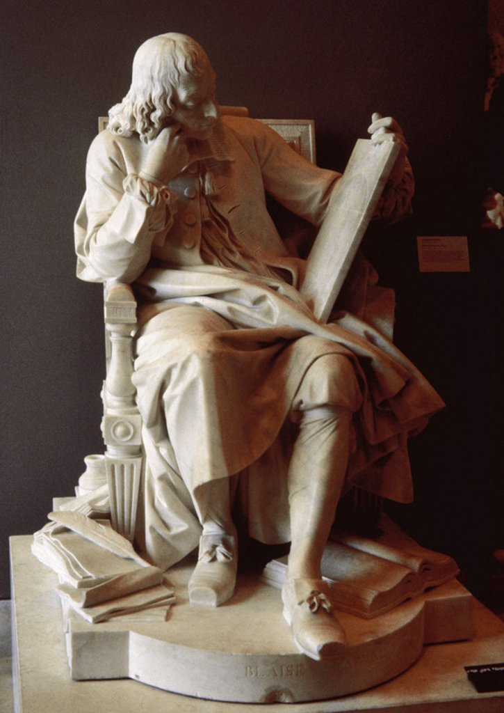 Blaise Pascal (1623-1662). French mathematician, physicist and philosopher. Pascal studying  the cycloid (1785). Sculpture by Augustin Pajou. Louvre Museum. Paris. France. : Stock Photo