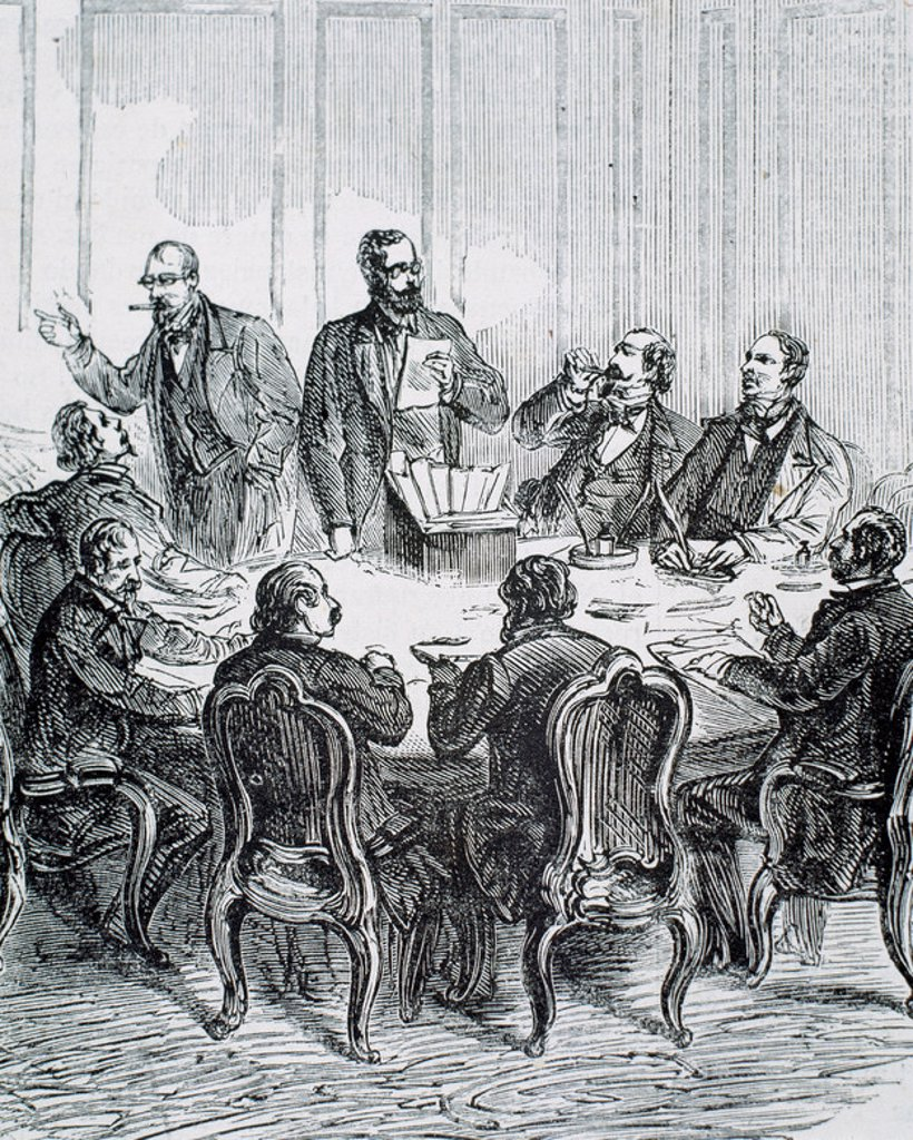 Stock Photo: 4409-43097 General scrutiny of the electoral process in the presence of journalists. France. 1872. Engraving by Ryckebusch.