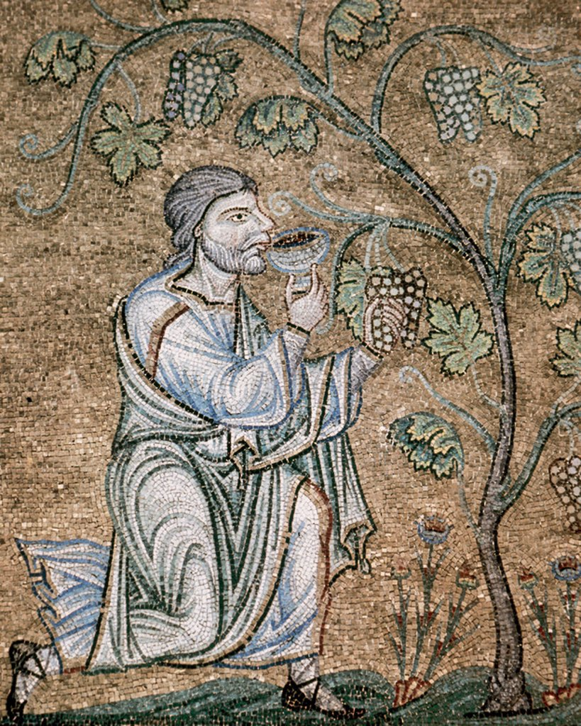 Stock Photo: 4409-43099 BYZANTINE ART. Noah drinking wine. Mosaic in the Baptistery of St. Mark's Basilica, dating between XII-XIV centuries. Venice. Italy.