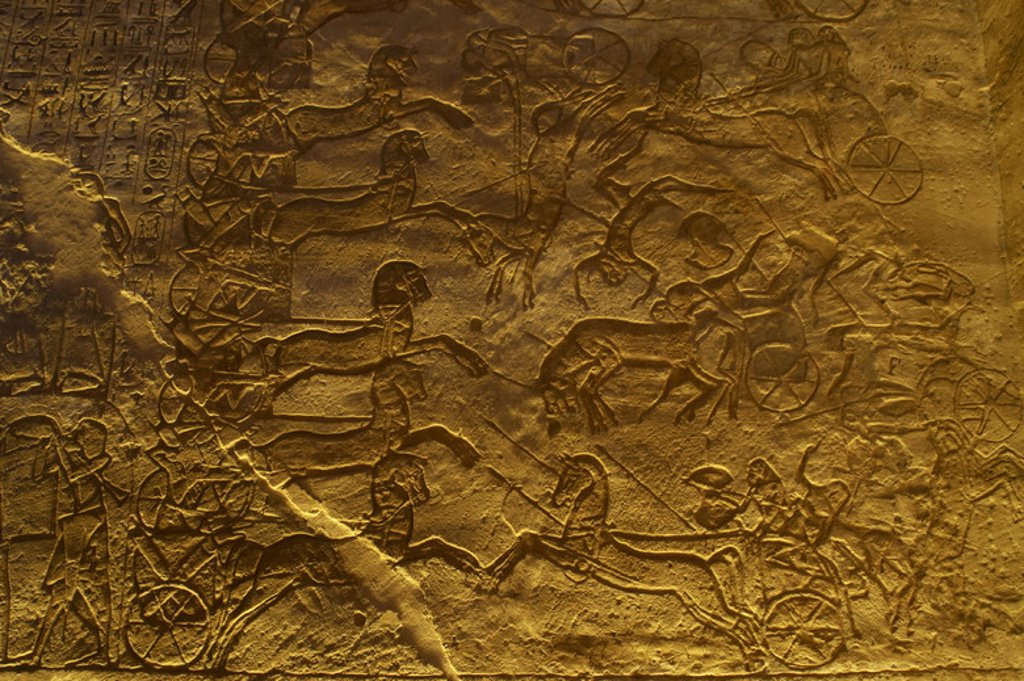 Stock Photo: 4409-43116 Egyptian art. Great Temple of Ramses II. 19th Dynasty. Military campaign against the Hittites. Battle of Kadesh. New Kingdom. Abu Simbel. Egypt.