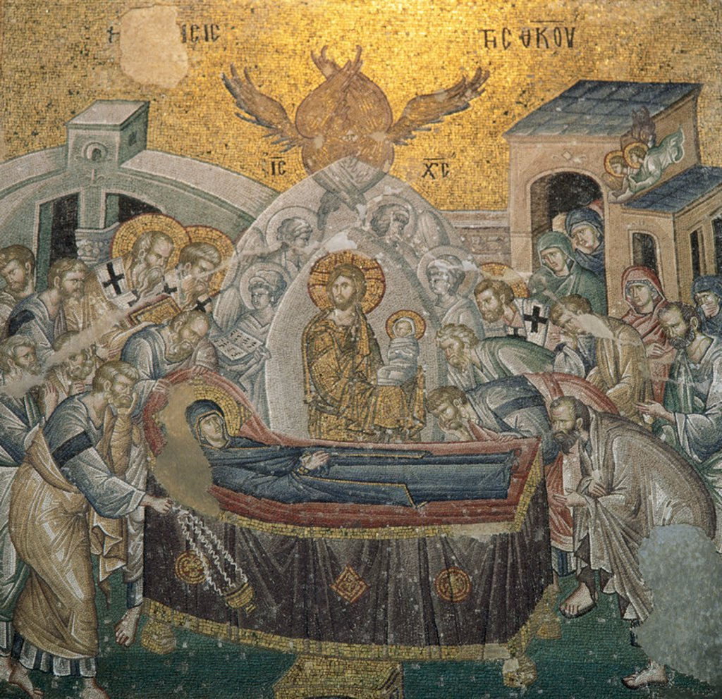 Stock Photo: 4409-43178 Byzantine Art. Mosaic. The Dormition of the Virgin, which lies in bed surrounded by the apostles. In the center, Jesus Christ with a child in his arms, symbolizing the soul of Mary reborn in Paradise. Nave of the Church of St. Saviour in Chora or Kariye Camii. Istanbul. Turkey.