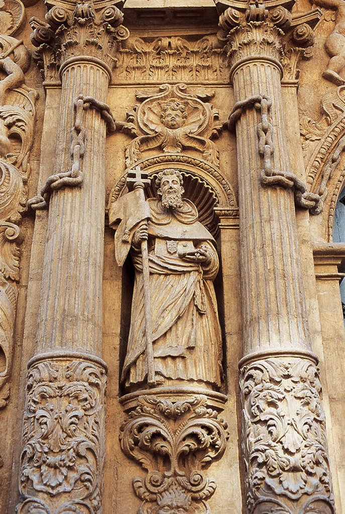 Stock Photo: 4409-43184 Spain. Murcia. La Merced Church (18th century). Sculpture at the main facade, by Jose Balaguer.