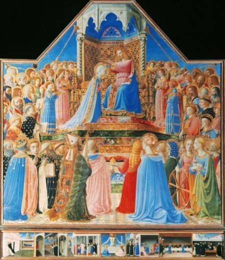Fra Angelico (1387-1455). Tuscan painter of early Renaissance, part of the Florentine school. The Coronation of the Virgin. 15th Century. Louvre Museum. Paris. France. : Stock Photo