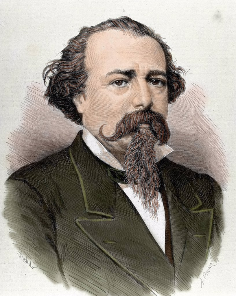 Stock Photo: 4409-43244 Lopez de Ayala, Adelardo (1828-1879). Poet, playwright and Spanish politician. Colored engraving from 1879.