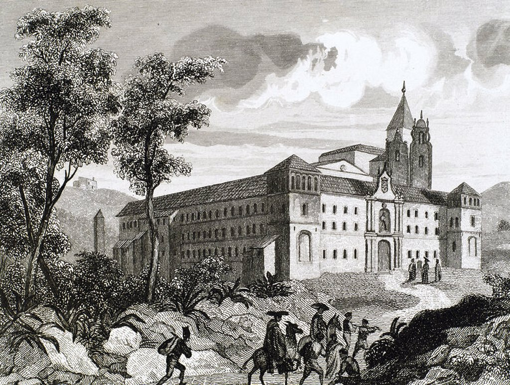 Monastery of San Pedro de Cardena. Founded in the 9th century and rebuilt in 1447. Castrillo del Val. Burgos province. Castile and Leo´n. Spain. Engraving. : Stock Photo