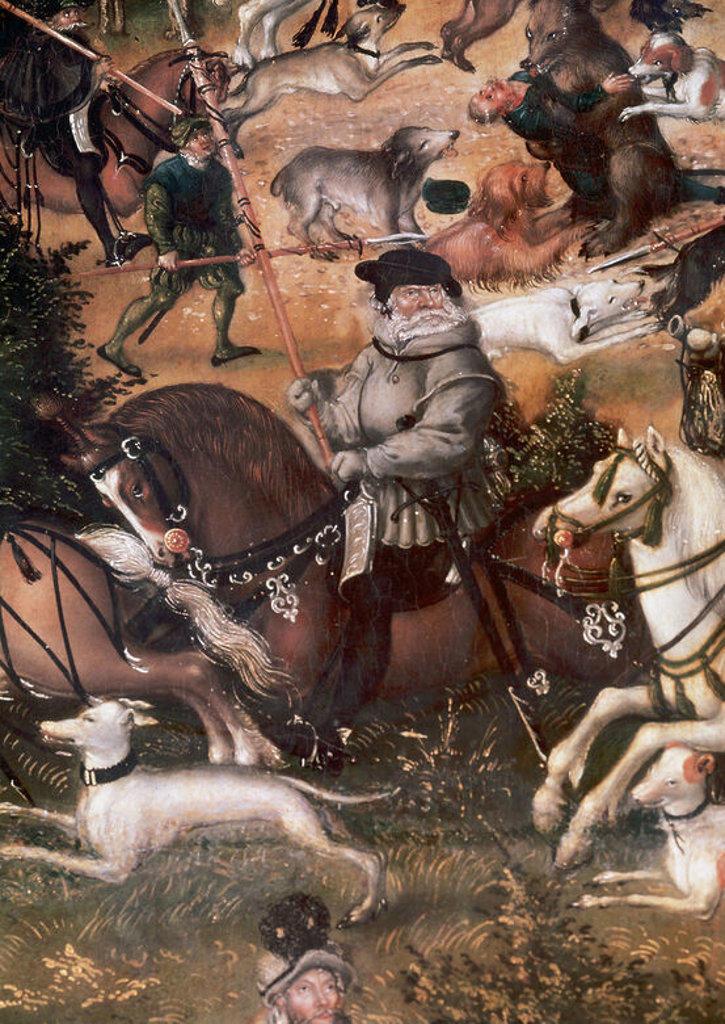 """Stock Photo: 4409-43263 ARTE RENACIMIENTO. ALEMANIA. LUCAS CRANACH """"el Viejo"""" (1479-1553). Pintor y grabador alemán. """"CACERIA EN HONOR DE CARLOS V EN EL CASTILLO DE TORGAU"""" (detalle). Museo del Prado. Madrid. España."""