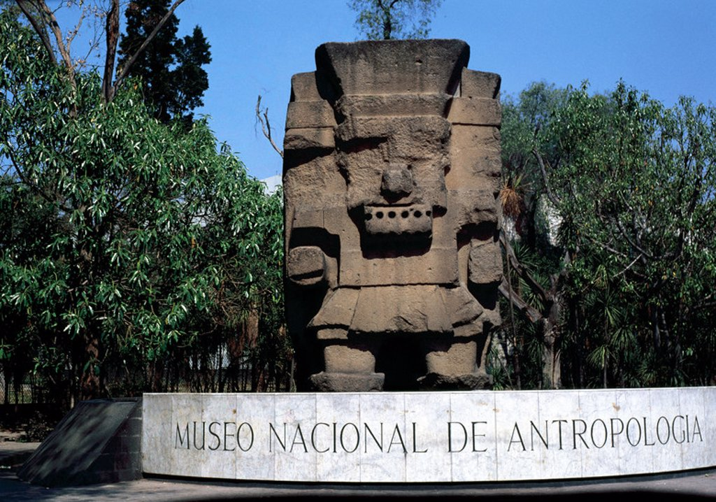 Stock Photo: 4409-43307 Pre-Columbian art. Aztec. Tlaloc. Nahua deity, lord of the land and the god of rain. Monolith at the entrance of the National Museum of Anthropology. Mexico City. Mexico.