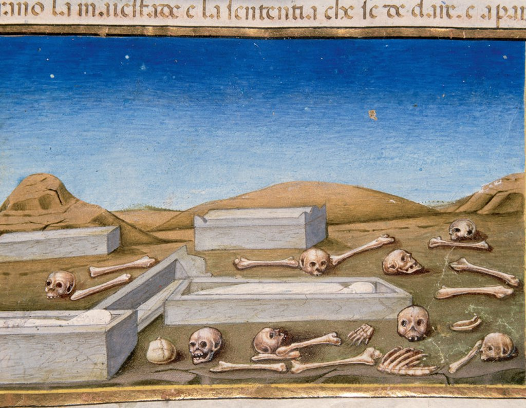 Stock Photo: 4409-43309 The End of the world and the Last Judgement. The dead will come out of the tombs. Codex of Predis (1476). Royal Library. Turin. Italy.