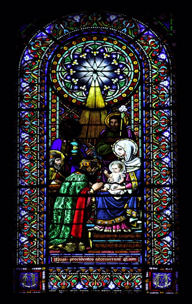 Stained glass window depicting the Epiphany. Montserrat Abbey. Catalonia. Spain. : Stock Photo