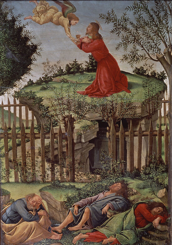 Stock Photo: 4409-4339 The Agony in the Garden - 16th century - oil on canvas. Author: BOTTICELLI, SANDRO. Location: CATEDRAL-CAPILLA REAL-INTERIOR, GRANADA, SPAIN. Also known as: ORACION EN EL HUERTO; LA ORACION EN EL HUERTO.