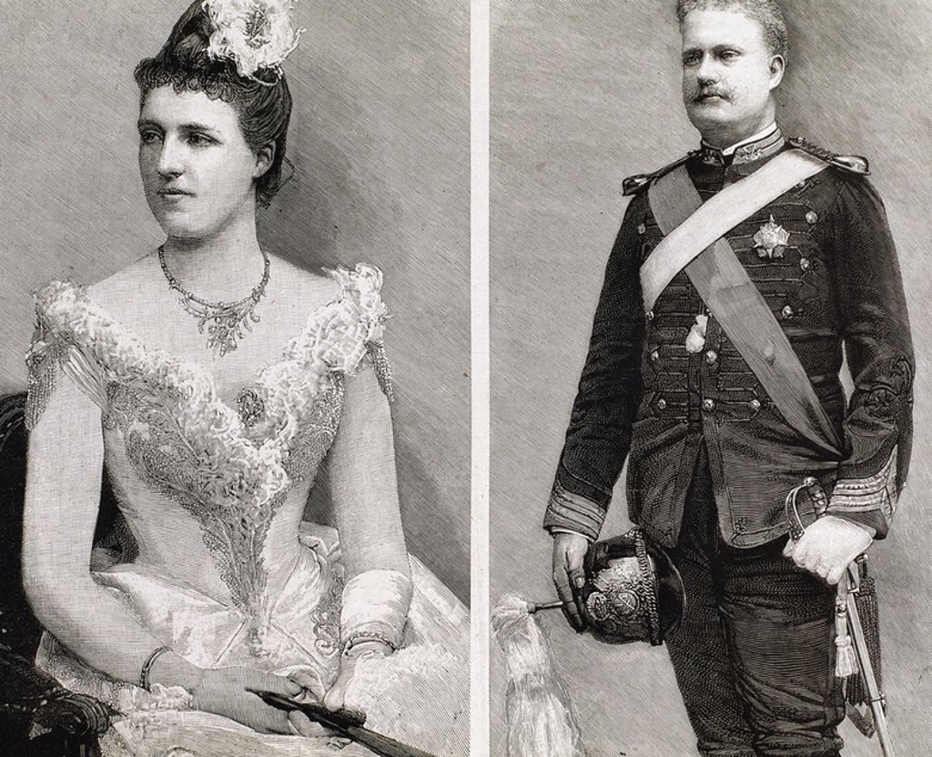 Charles I of Portugal (1863-1908). King of Portugal and the Algarves (1889-1908) and his wife Amelie of Orleans (1865-1951). Engraving. : Stock Photo