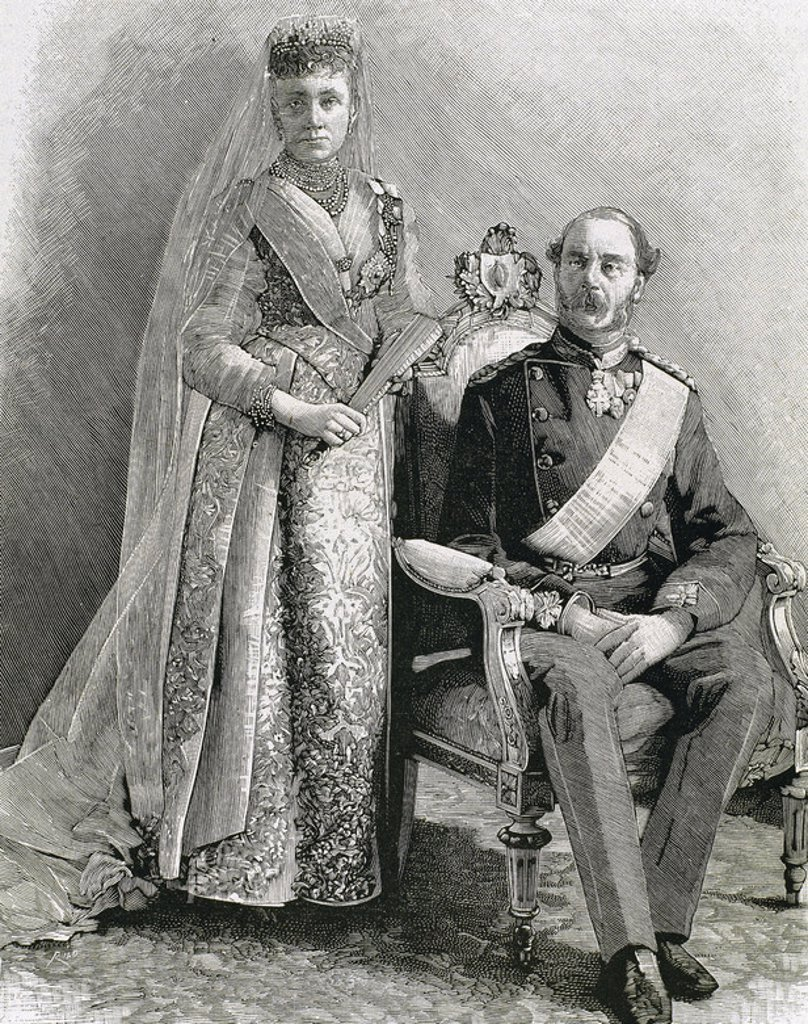 Stock Photo: 4409-43427 Christian IX (Gottorp, 1818-Copenhagen, 1906). King of Denmark (1863-1906), was the first sovereign of the branch Bl¸cksburg. Engraving by Rico. Christian IX and his wife.