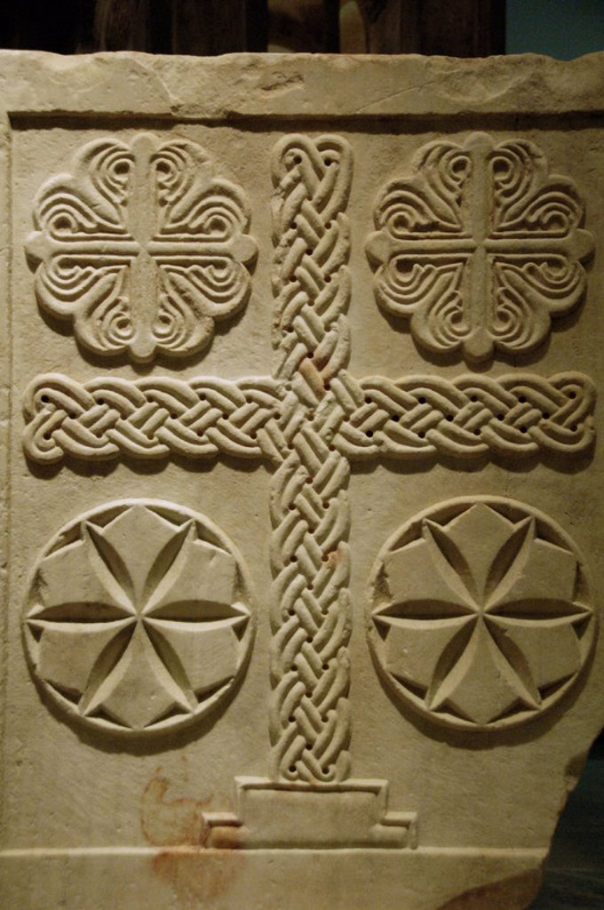 BYZANTINE ART. GREECE. Marble slab relief decorated with crosses. Dated in XI century. It comes from Athens. Byzantine Museum. Athens. : Stock Photo