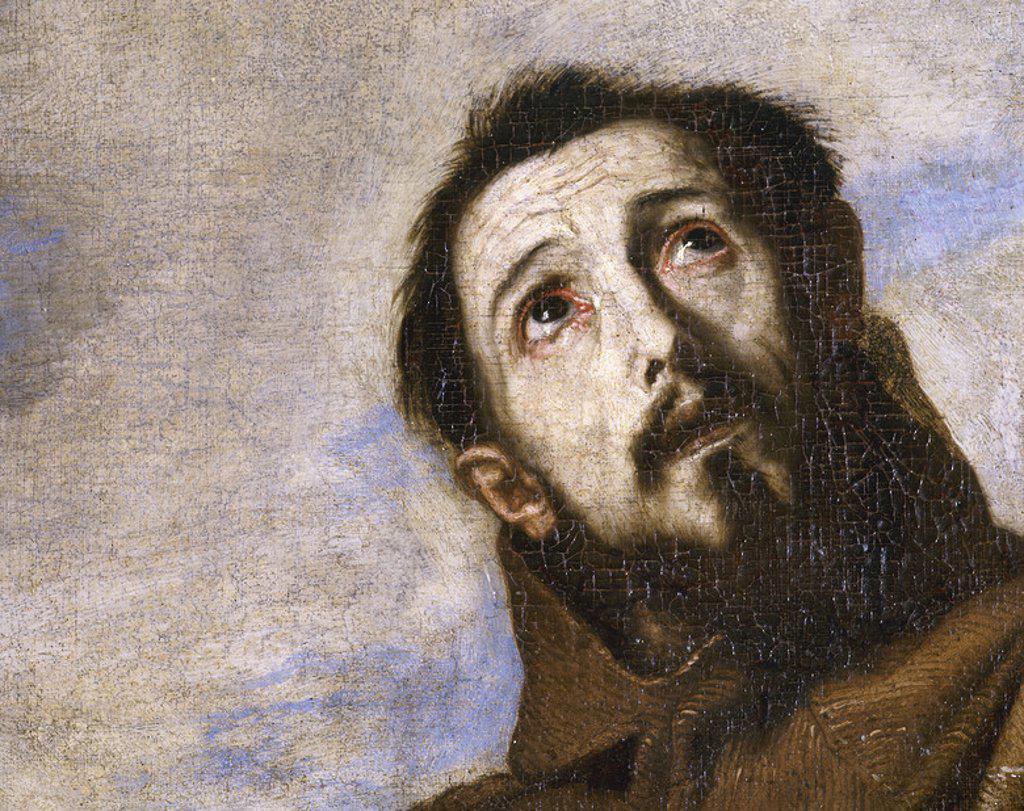 """Stock Photo: 4409-43460 ARTE BARROCO. ESPAÑA. RIBERA, José de (Játiva,1591-Nápoles,1652). Pintor español llamado en Italia """"IL SPAGNOLETTO"""". """"SAN FRANCISCO DE ASIS RECIBIENDO LOS ESTIGMAS"""". Detalle del ROSTRO. Monasterio de San Lorenzo de El Escorial. Comunidad de Madrid. PATRIMONIO NACIONAL."""
