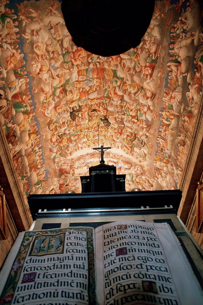 Royal Seat of San Lorenzo de El Escorial. Erected at the behest of Philip II (1557). Vault of religious choir decorated with frescoes by Luca Cambiaso (1527-1585). San Lorenzo de El Escorial. Madrid. Spain. : Stock Photo