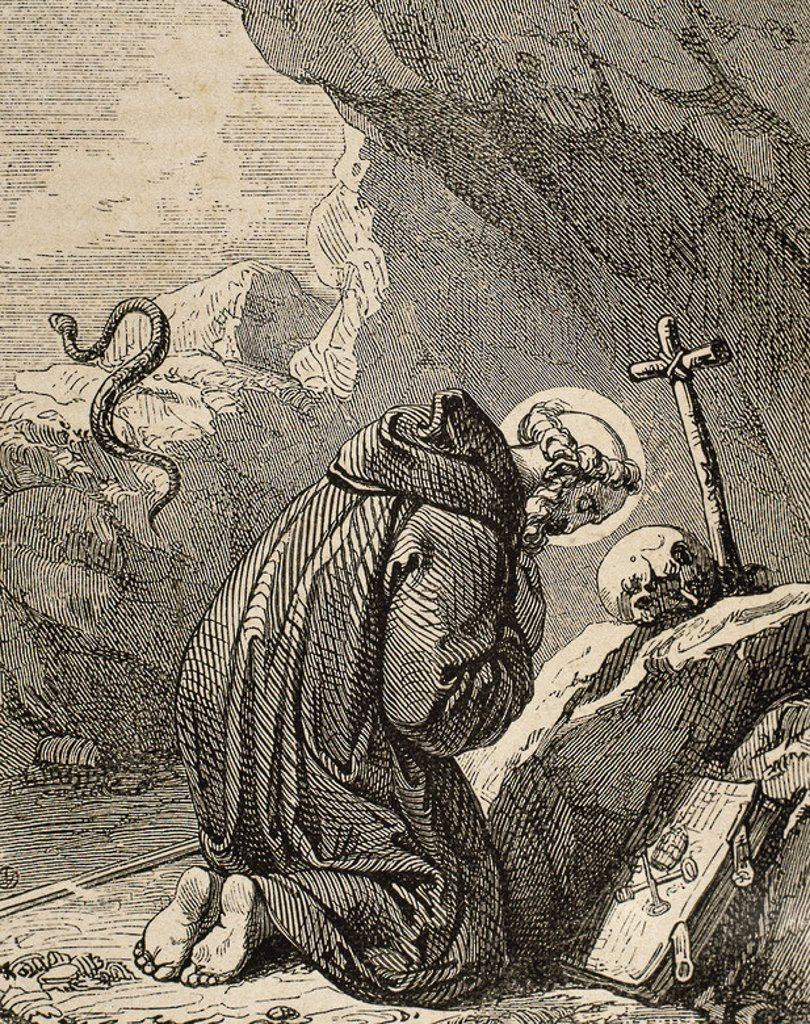St. Celestine V (1215-1296). Italian Pope (1294), born Pietro Angelerio, also knowns as Pietro da Morrone. Engraving by Capuz. : Stock Photo