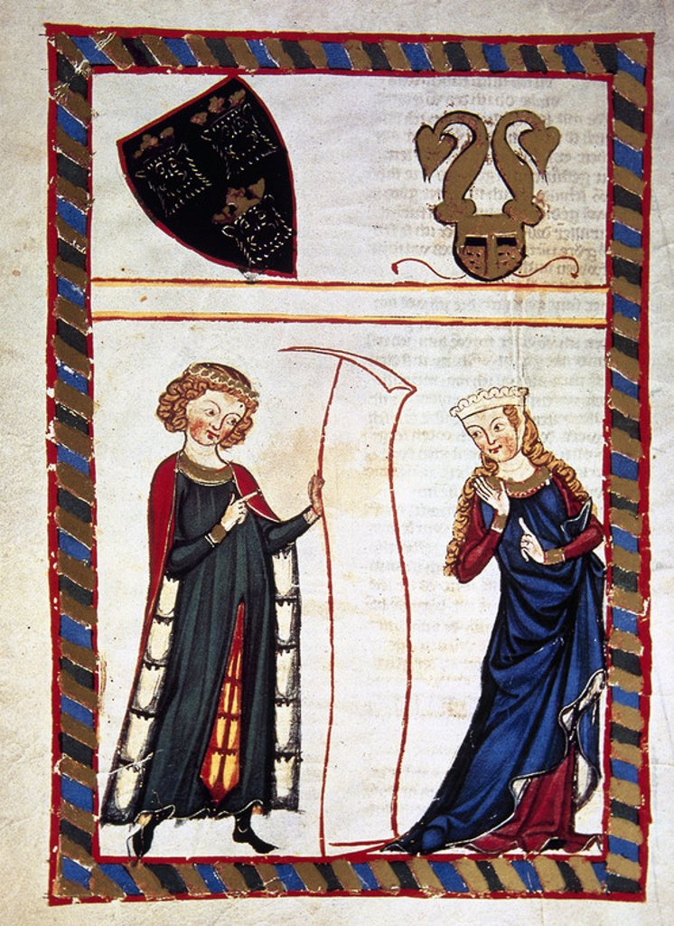 Stock Photo: 4409-43719 Meinloch Von Sevelingen, ministerial Swabian (12th century), read a verse from the parchment to his lady who listen with caution. Fol. 120v. Codex Manesse (ca.1300)  by Rudiger Manesse and his son Johannes. University of  Heidelberg. Library. Germany.