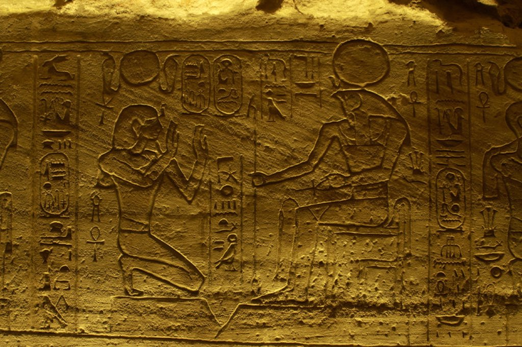 Egyptian art. Great Temple of Ramses II. Relief depicting an offering to god Ra. 19th Dynasty. New Kingdom. Abu Simbel. Egypt. : Stock Photo
