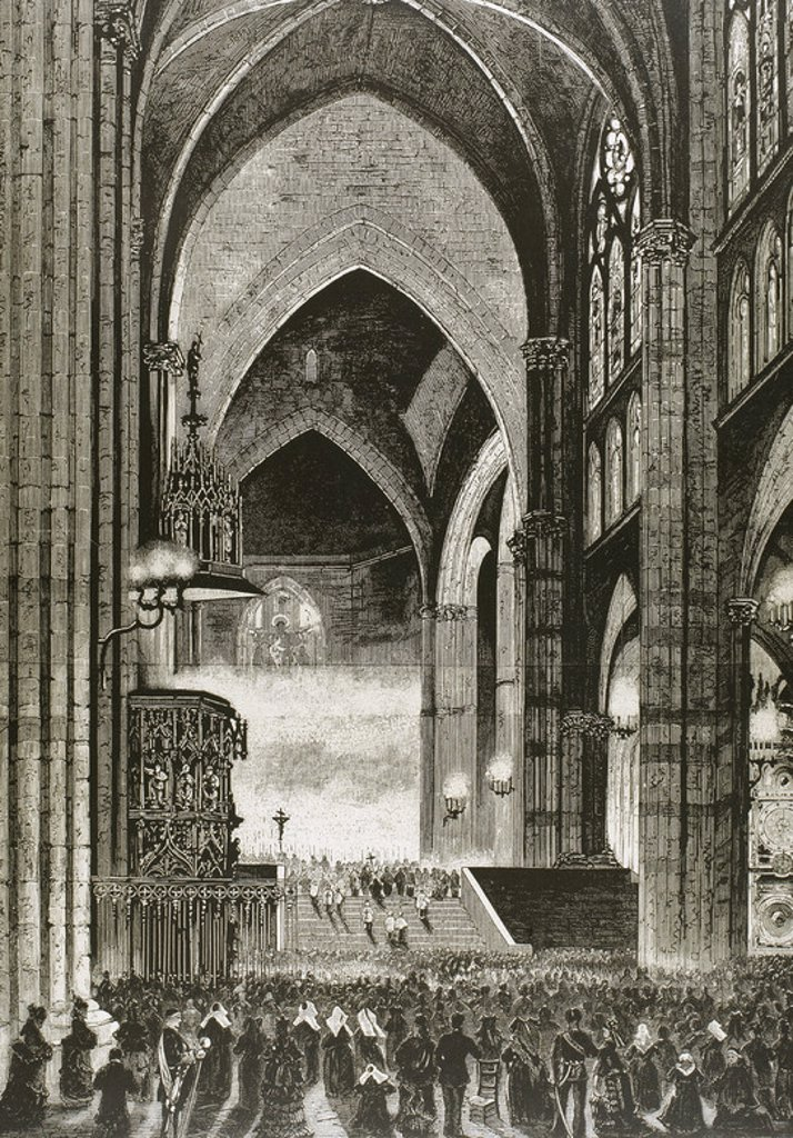 "Stock Photo: 4409-43867 Celebrating Christmas Mass at the Cathedral of Strasbourg. France. Engraving in ""The Spanish and American Illustration"" (1875) on an original drawing by M. Robert Akmus."