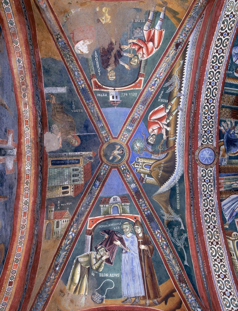 Stock Photo: 4409-43888 Italy. Novalesa Abbey. Chapel of Saint Eldrado and Saint Nicholas. 11th century. Frescoes depicting the life of Saint Eldrado. Vault.