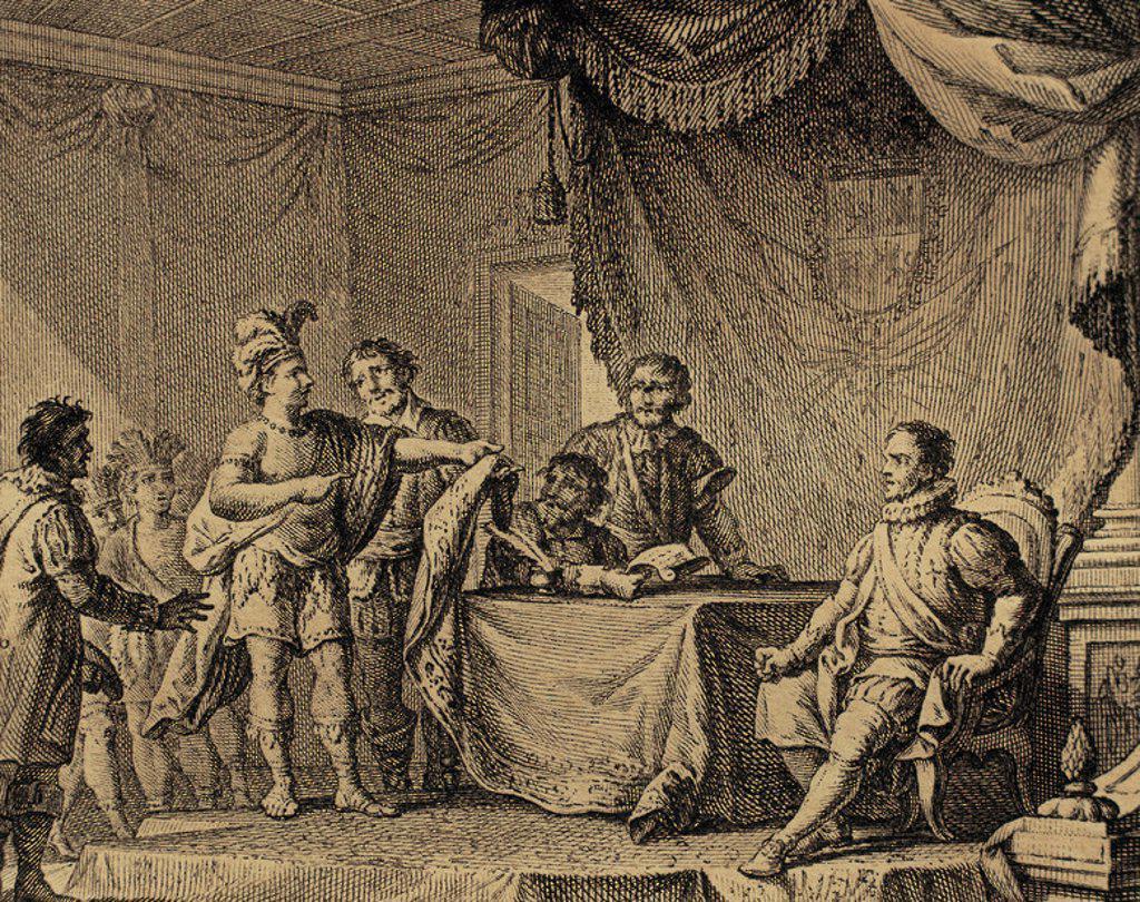 Submission of Inca's king Sayri Tupac to Don Hurtado de Mendoza, Viceroy of Peru. Engraving, 1807. : Stock Photo