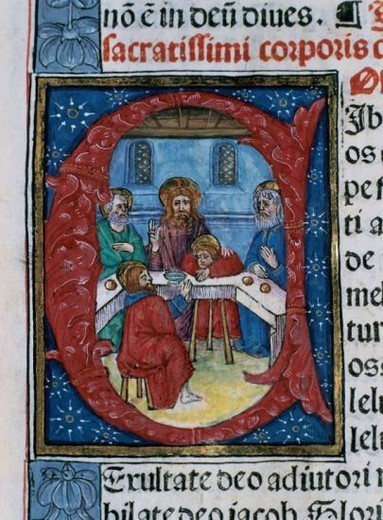 Stock Photo: 4409-44031 Missal. Initial detail. Last Supper. Latin. Codex 9. 1524. Printing Rosenbach (Barcelona, Spain). Chapter Archive of Tortosa. Catalonia. Spain.