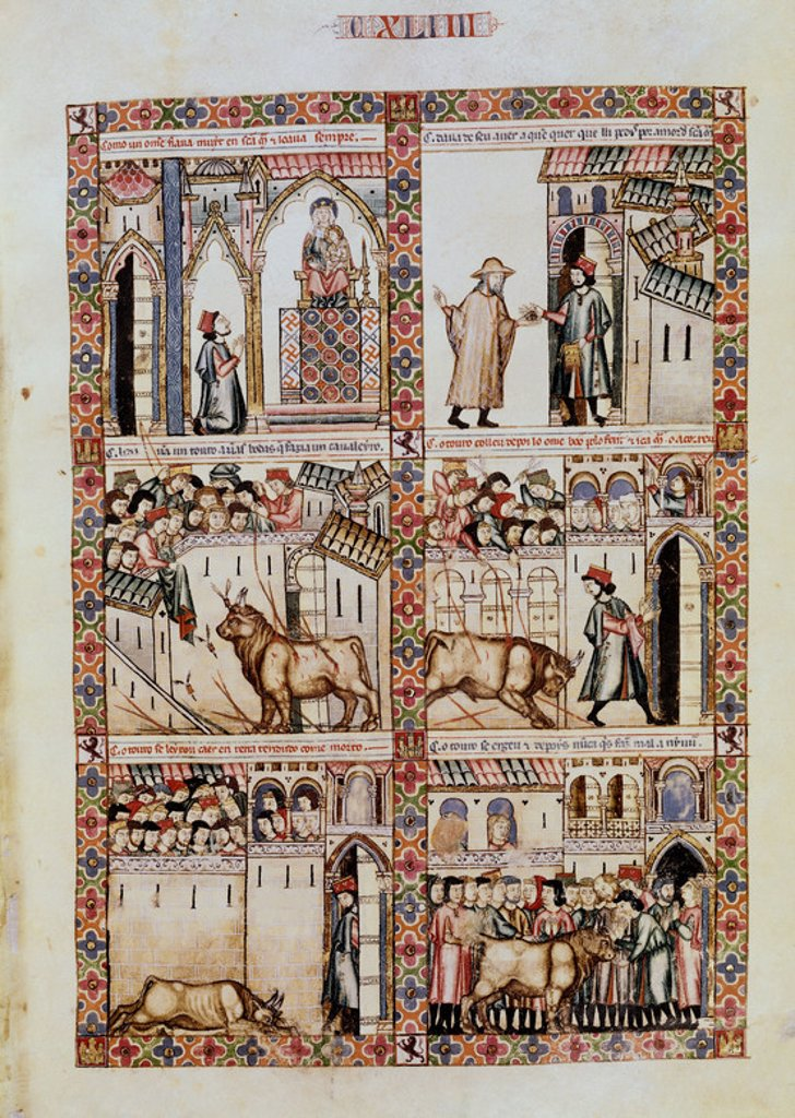 Spanish school. The Cantigas de Santa Maria (manuscript with music notations): Virgin Mary saves a pilgrim from a bull in Plasencia. Canticle n°144, folio 200 R. Madrid, San Lorenzo de El Escorial library. Author: ALFONSO X OF CASTILE, THE WISE. Location: MONASTERIO-BIBLIOTECA-COLECCION, SAN LORENZO DEL ESCORIAL, MADRID, SPAIN. : Stock Photo