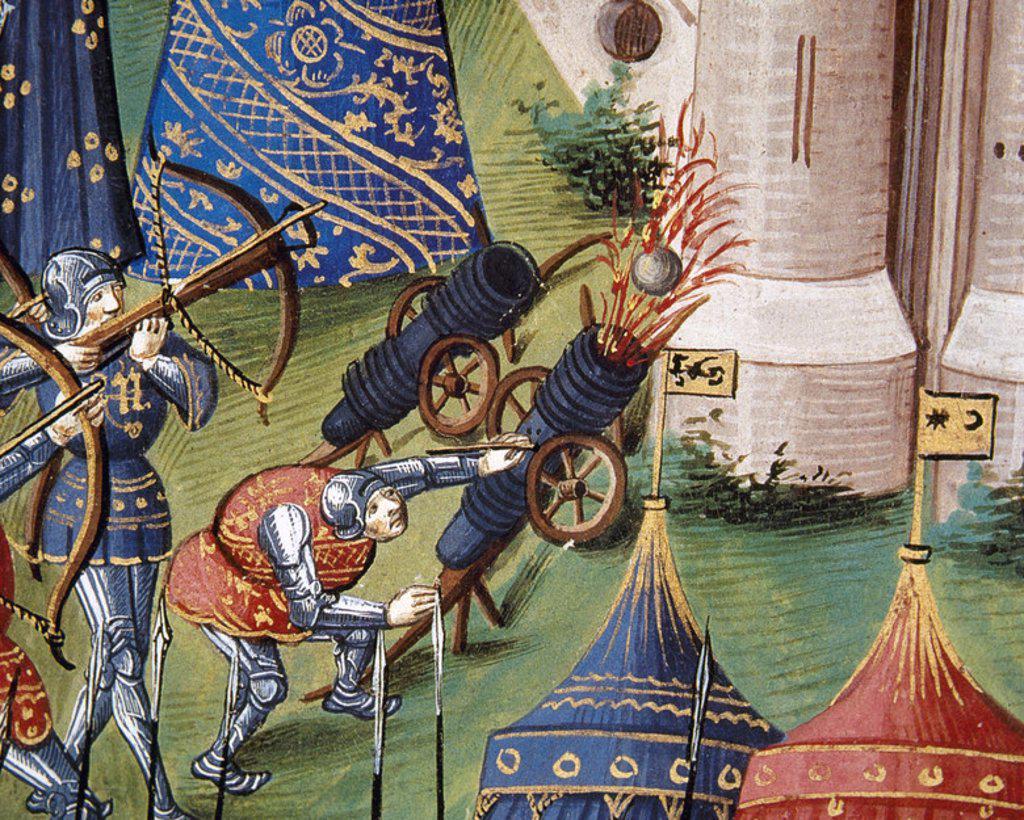 Stock Photo: 4409-44467 EJERCITO MEDIEVAL. ARTILLERIA. Soldados asediando una ciudad con el apoyo de CAÑONES y BALLESTAS. Miniatura del s. XV. Castillo de Chantilly. Francia.