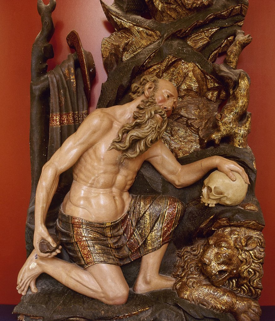 Stock Photo: 4409-44468 JERONIMO, San (Estridón,347-Belén,h.420). Padre y doctor de la Iglesia. Escultura de SAN JERONIMO PENITENTE. Museo de la Catedral de Santo Domingo de la Calzada. La Rioja. España.