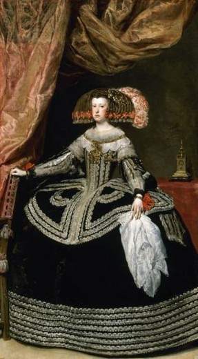 Mariana of Austria (1634-1696). Queen of Spain (1649-1665) and regent for his son Charles II (1665-1675). Portrait by Diego Vela´zquez de Silva (1599-1660). Museo del Prado. Madrid. Spain. : Stock Photo