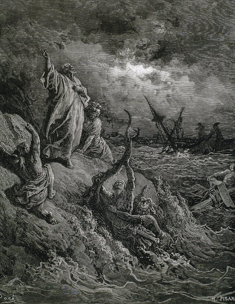 Stock Photo: 4409-44586 Saint Paul the Apostle  (c.5-c..67). Apostle to the Gentiles. Shipwreck on the island of Malta.  (Acts of the Apostles, Chapter XXVII, verses 39 to 44). G. Dore drawing. Engraved by H. Pisan.