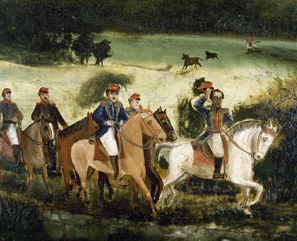 """Stock Photo: 4409-44587 """"BOLIVAR Y SANTANDER ATRAVESANDO LA SABANA EN DIRECCION A BOGOTA. EL EJERCITO LIBERTADOR DESPUES DEL TRIUNFO"""". S. XIX. En primer término los generales Bolívar (1783-1830) y Santander (1792-1890) después de la BATALLA DE BOYACA (7 de agosto de 1819). Detalle del óleo sobre lienzo, 65,5x116 cm. de Francisco de Paula ALVAREZ. Museo Nacional. Colombia."""