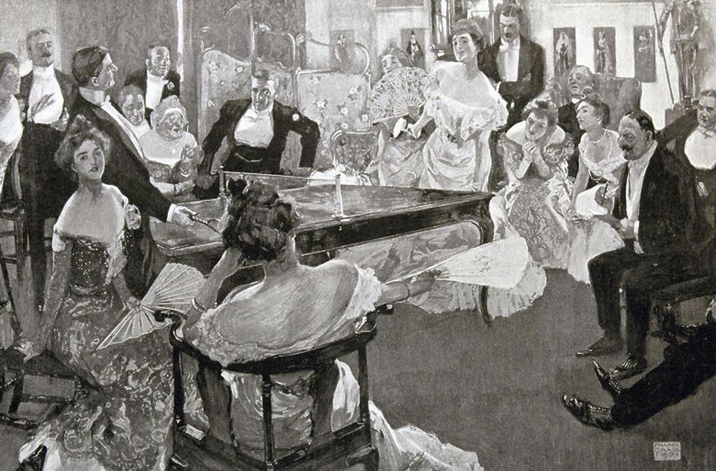 Stock Photo: 4409-44593 Sociedad inglesa S. XIX. 'Grupo de personas jugando al ping-pong, el juego de moda en Inglaterra'. Grabado S. XIX.