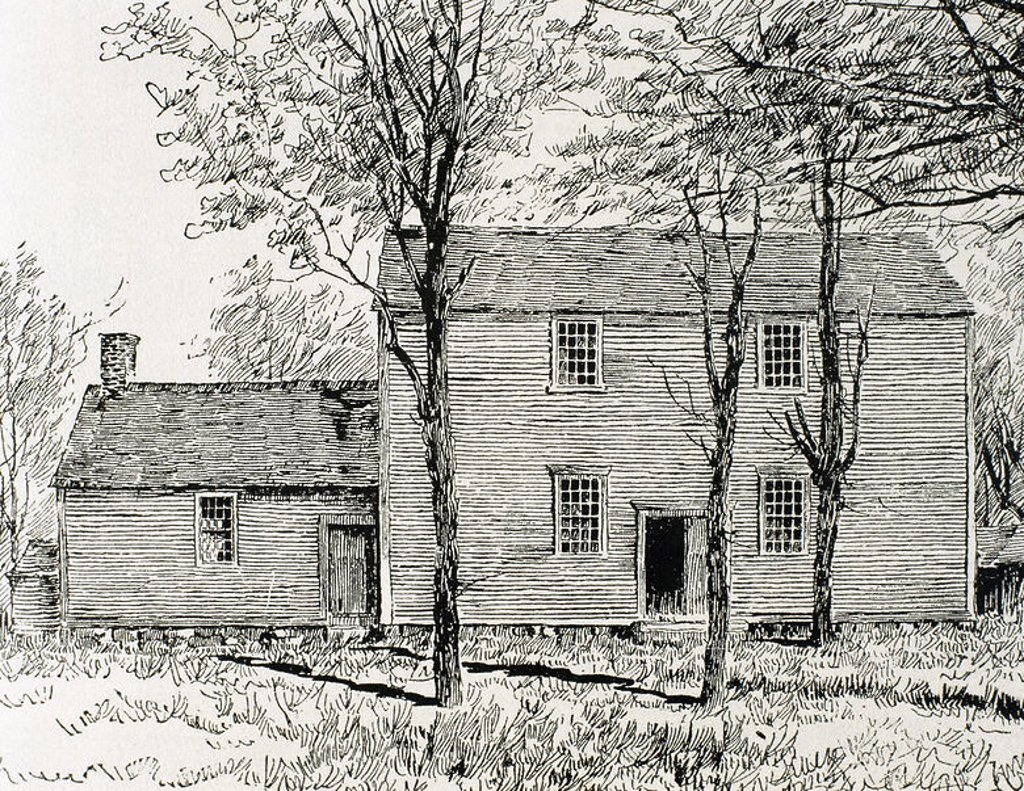 Stock Photo: 4409-44668 Meeting house of the Quakers. Lincoln. United States. Nineteenth century engraving.