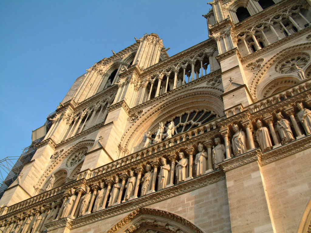 Stock Photo: 4409-44703 France. Paris. Notre Dame Cathedral. 12th - 14th centuries. Facade detail.