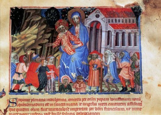 Stock Photo: 4409-44722 Gothic art. Spain. 14th and 15th centuries. Red Book. Miniature depicting the Virgin and Child, basilica and pilgrims. Library of the Monastery of Montserrat. Catalonia.