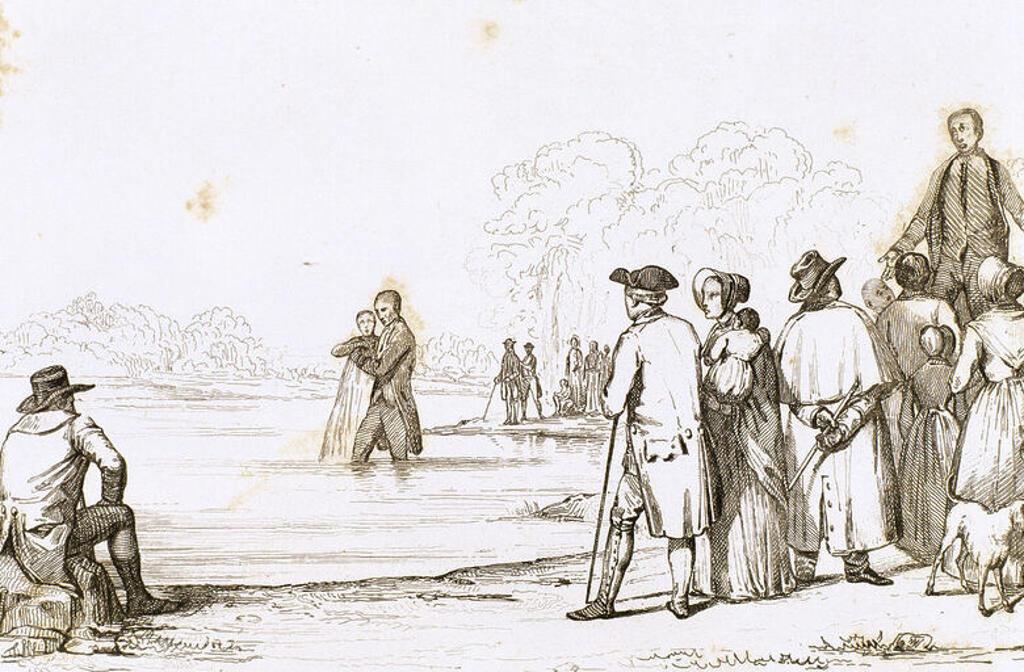 Stock Photo: 4409-44761 HISTORIA ESTADOS UNIDOS. BAUTISMO DE ANABAPTISTAS, unos de los primeros colonos de Norteamérica. Su ideología residía en la aceptación del bautismo sólo de los adultos. Virginia siglo XVII. Grabado del 1841.