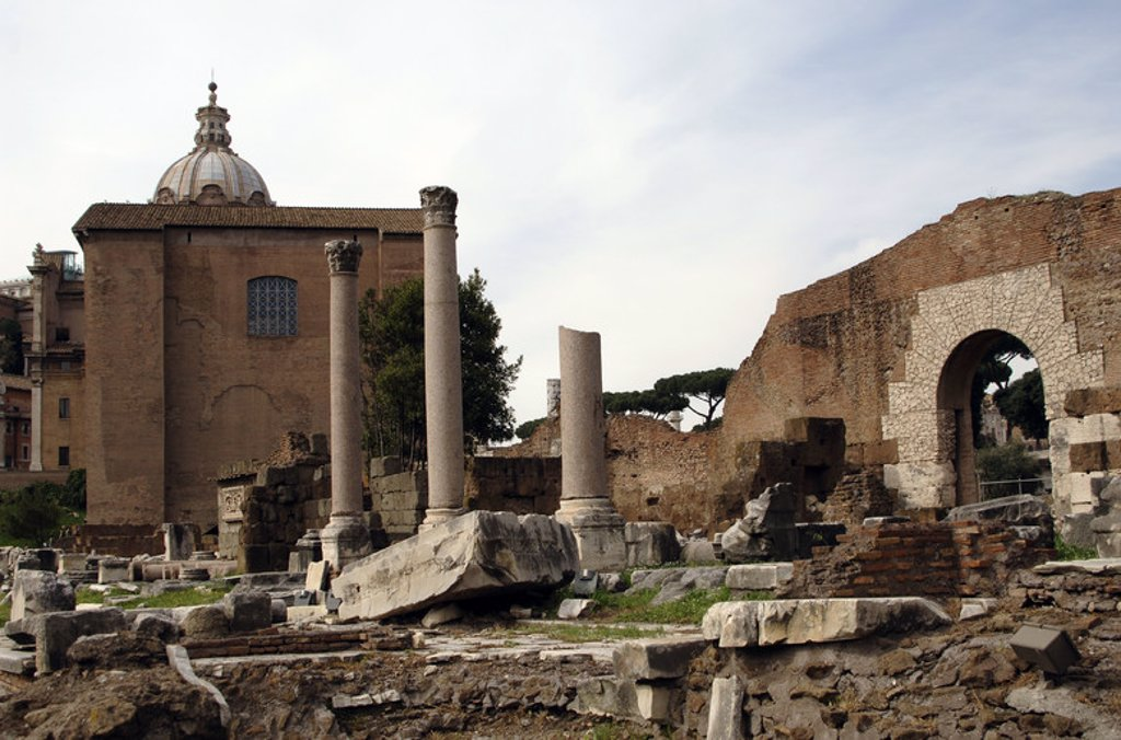 Stock Photo: 4409-44762 Italy. Rome. Tabernae Novae (New Shops). Roman Forum. Remains.