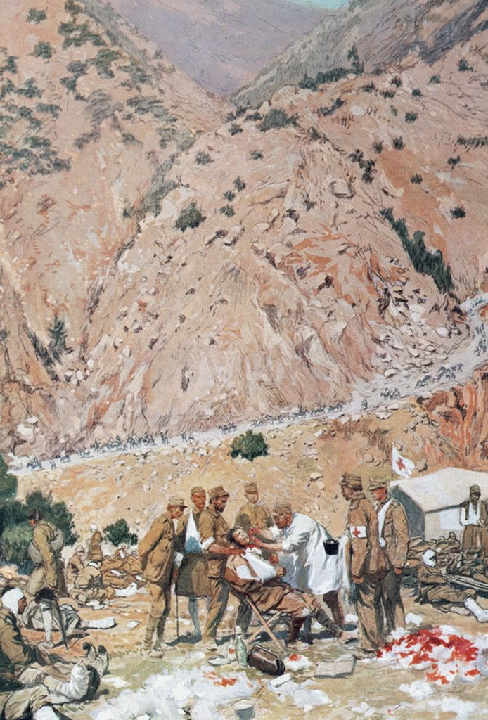 """Stock Photo: 4409-44790 GUERRAS BALCANICAS (1874-1914). SEGUNDA GUERRA BALCANICA (1912-1913). Empezó en octubre de 1912 coincidiendo con el fin de la lucha entre el Imperio Otomano e Italia. """"EL EJERCITO GRIEGO EN UN HOSPITAL DE CAMPAÑA A LA ENTRADA DE LOS DESFILADEROS DE KRESNA"""". Acuarela de Georges SCOTT, 1913. Biblioteca Episcopal de Barcelona. Cataluña."""