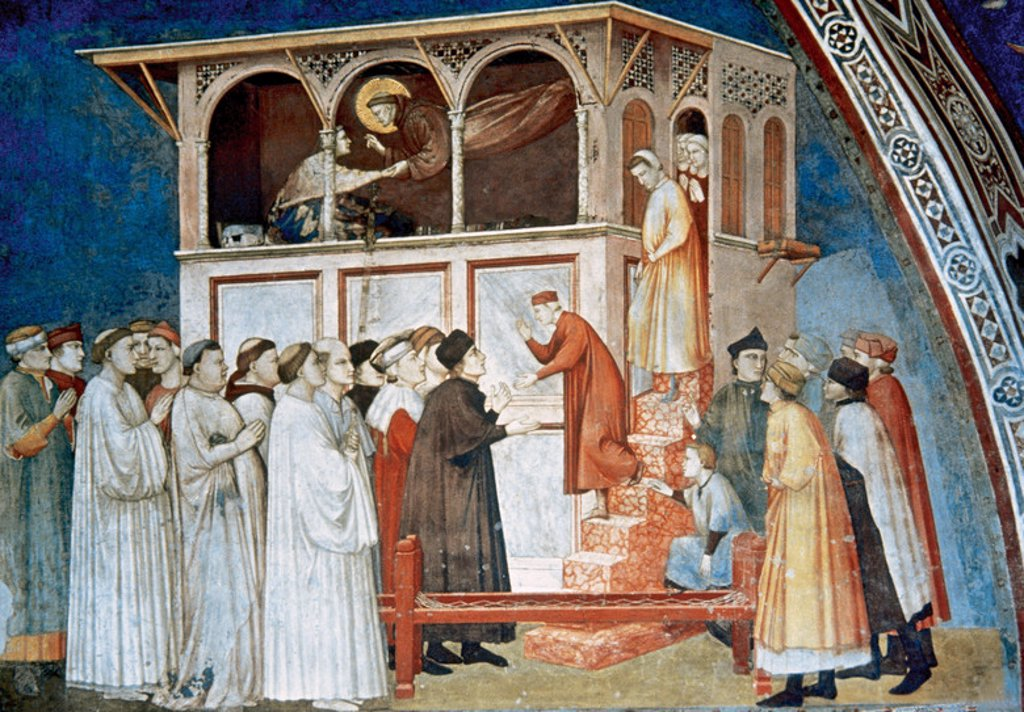 Gothic Art. Italy. Giotto di Bondone (1266/7-1337). Italian painter and architect. Saint Francis resurrects a child (1296). Fresco of the Upper Church of St. Francis. Assisi. Italy. : Stock Photo