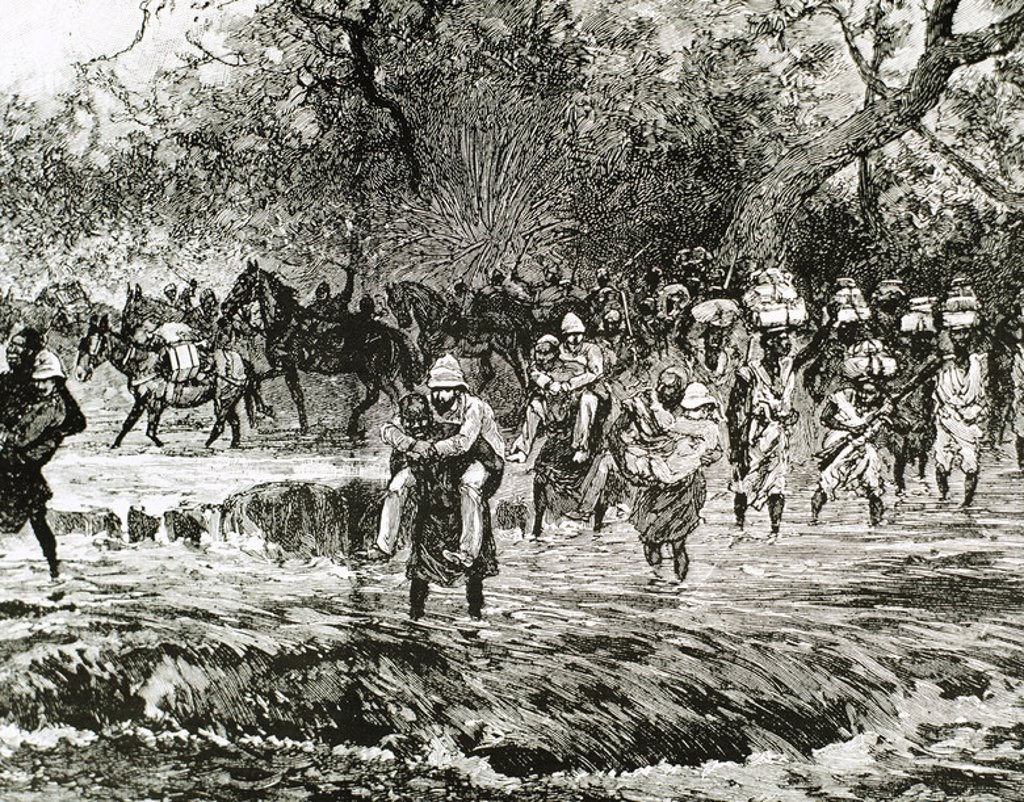 Stock Photo: 4409-45019 Explorers crossing a stream in the mountains Nie´nie´ya. Sudan. Engraving of 1892.