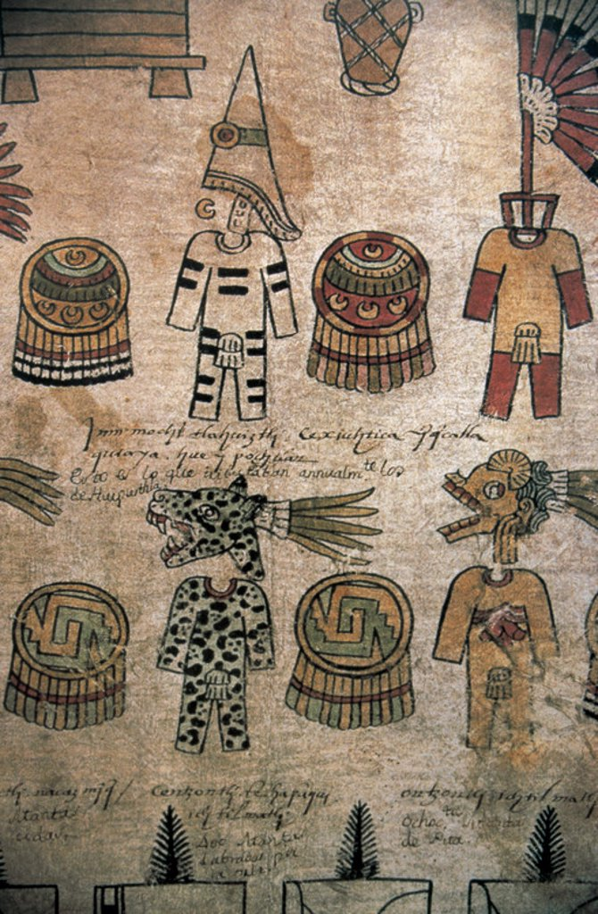 Stock Photo: 4409-45148 ARTE PRECOLOMBINO. AZTECA. MEXICO. 'RECOGIDA DE TRIBUTOS'. Códice. Museo Nacional de Antropología. México DF.