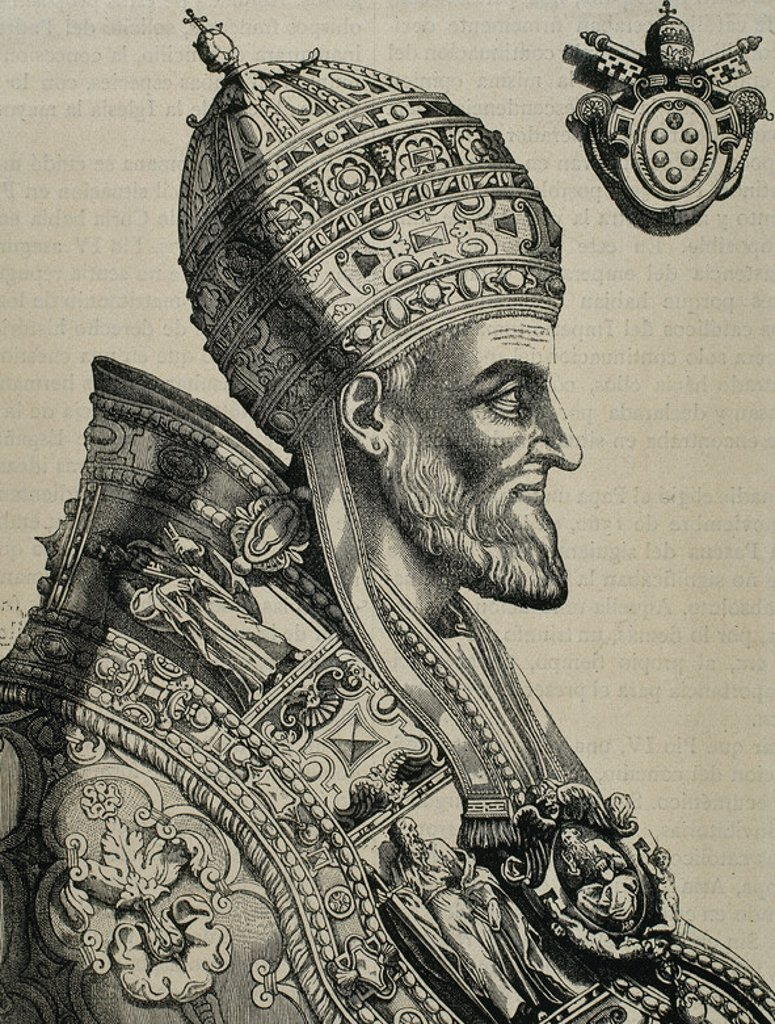 Stock Photo: 4409-45265 Pius IV (Milan ,1499-Rome, 1565). Italian pope, named Giovanni Angelo Medici.  Engraving by N. Beatrizet.