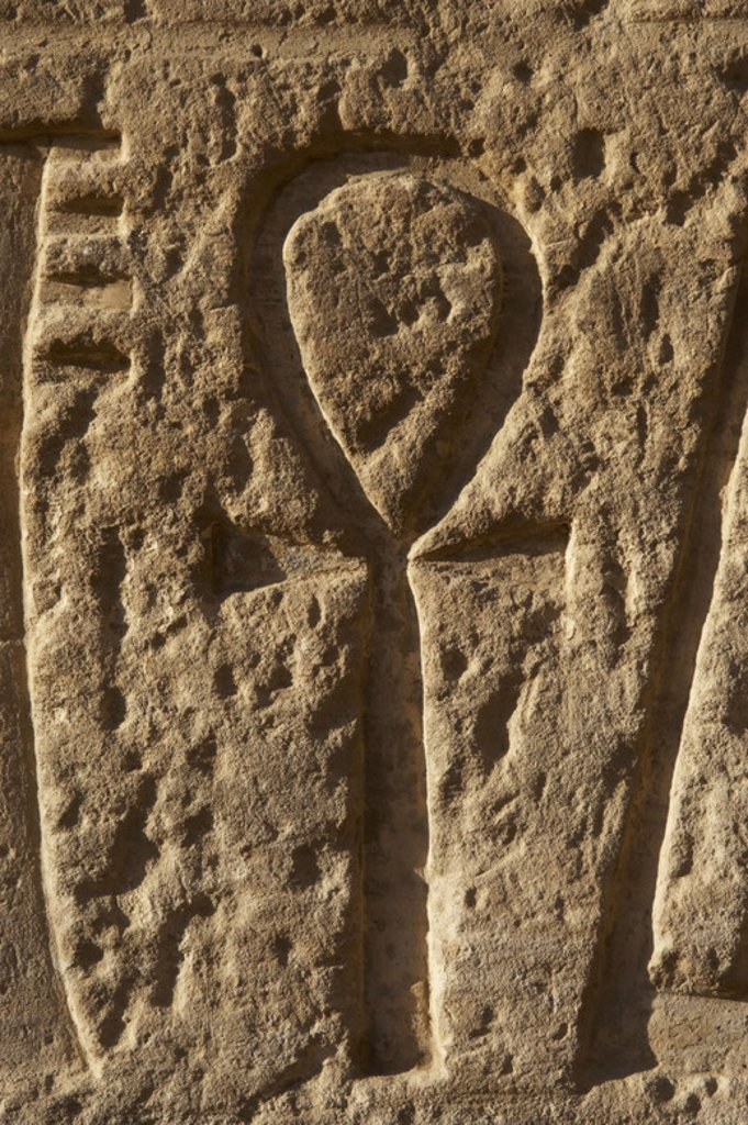 Stock Photo: 4409-45299 Relief with the Ankh. Temple of Ramses III. New Kingdom. Egypt.