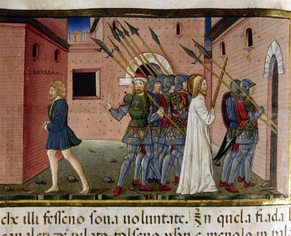 Stock Photo: 4409-45310 Pilate liberates Barabbas and orders Jesus is crucified. Codex of Predis (1476). Royal Library. Turin. Italy.