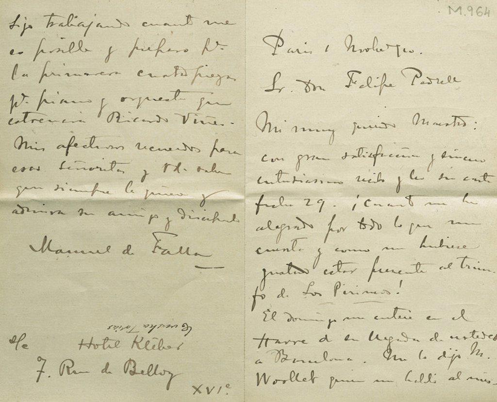 Stock Photo: 4409-45495 Correspondencia mantenida entre el compositor andaluz Manuel de FALLA (Cádiz, 1876-Alta Gracia, 1946) durante su estancia en París en 1913 y el compositor catalán Felipe PEDRELL (Tortosa, 1841-Barcelona, 1922) .