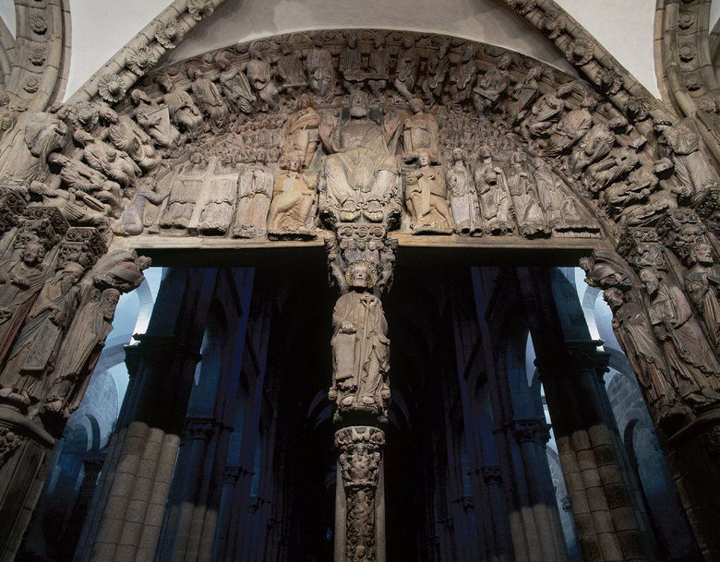 Stock Photo: 4409-45565 Spain. Galicia. Santiago de Compostela. Cathedral. The Portico da Gloria. Romanesque portico by Master Mateo (1188)  and his workshop at the request of King Ferdinand II of Leon. Detail. Way of St. James.