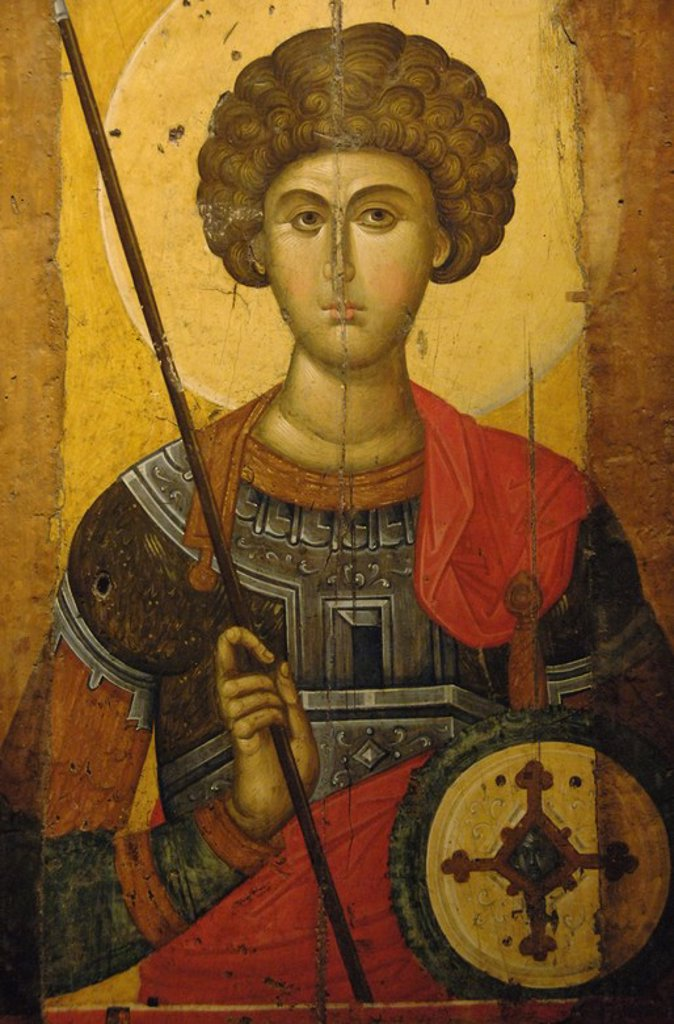Stock Photo: 4409-45573 BYZANTINE ART. GREECE. Icon with Saint George made by the workshop of Constantinople. Dated at XIV century. Byzantine Museum. Athens.