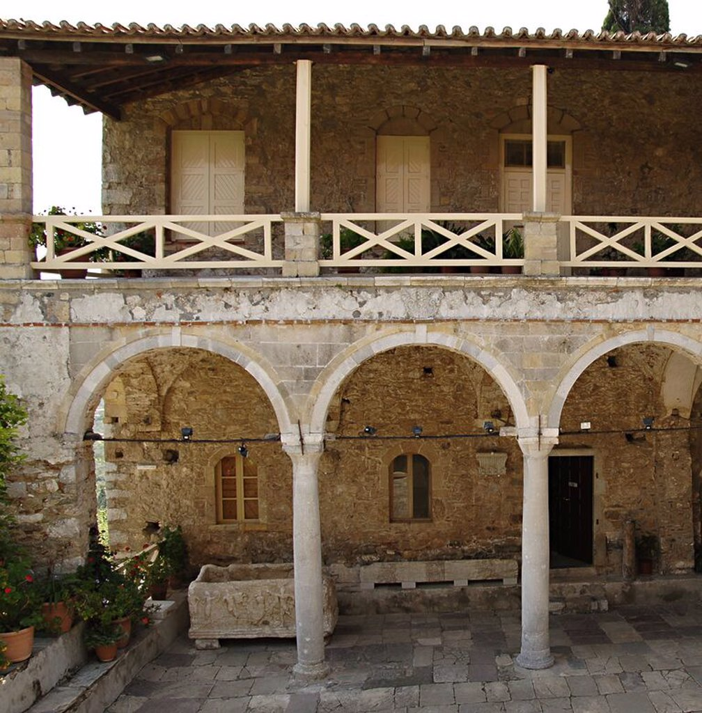 Stock Photo: 4409-45656 Greece. Mystras. The Cathedral or Metropolitan Church of Aghios Dhimitrios. Was built by the first Paleologue ruler between 1270 and 1292 and is the oldest of Mystras's churches.  The basilica was altered in the 15th century. Courtyard.